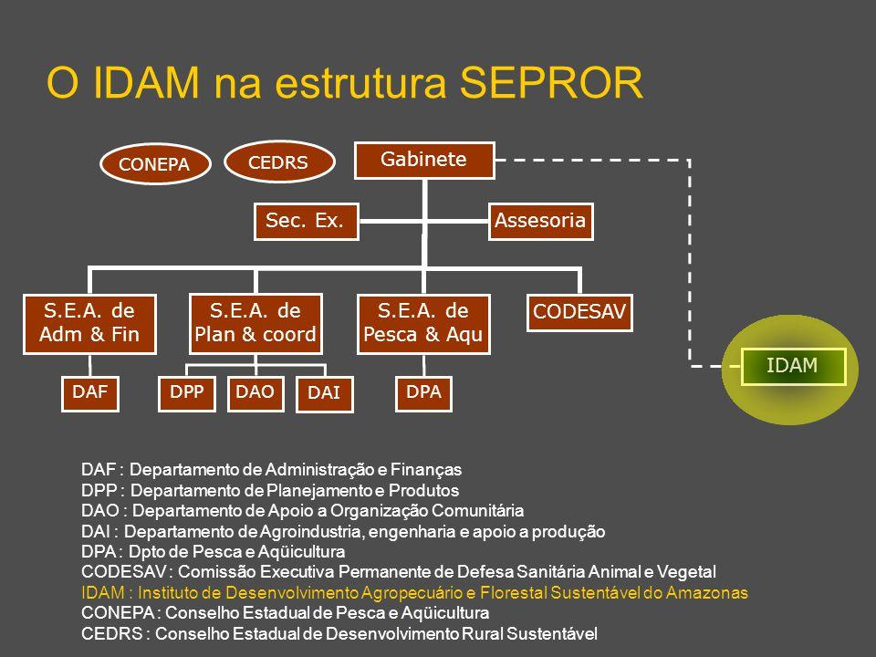 S.E.A. de Adm & Fin S.E.A. de Plan & coord S.E.A. de Pesca & Aqu O IDAM na estrutura SEPROR Gabinete DAODPADAFDPP DAI DAF : Departamento de Administra