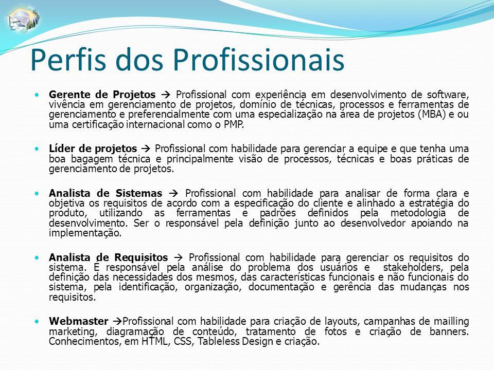 Perfis dos Profissionais Gerente de Projetos  Profissional com experiência em desenvolvimento de software, vivência em gerenciamento de projetos, dom