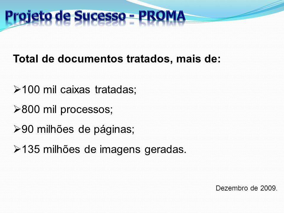 Dezembro de 2009. Total de documentos tratados, mais de:  100 mil caixas tratadas;  800 mil processos;  90 milhões de páginas;  135 milhões de ima