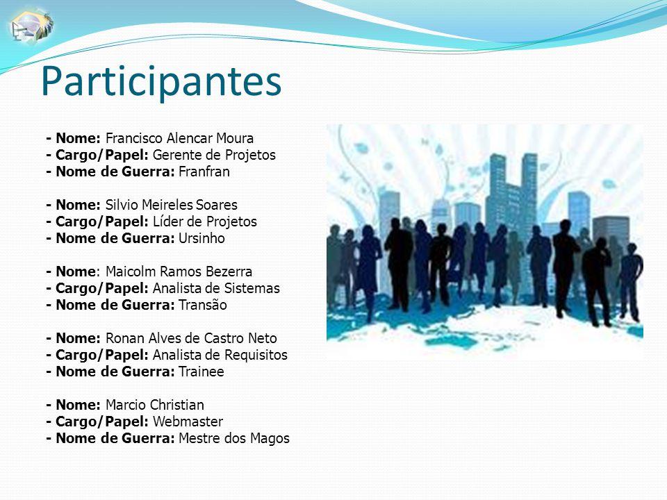 Participantes - Nome: Francisco Alencar Moura - Cargo/Papel: Gerente de Projetos - Nome de Guerra: Franfran - Nome: Silvio Meireles Soares - Cargo/Pap