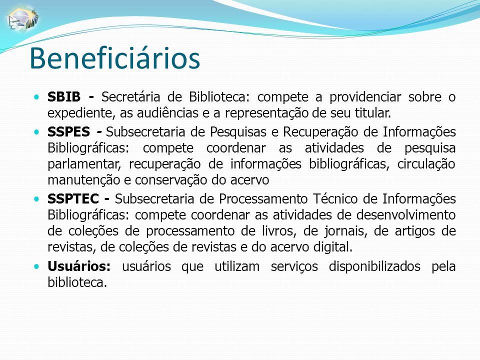 Beneficiários SBIB - Secretária de Biblioteca: compete a providenciar sobre o expediente, as audiências e a representação de seu titular. SSPES - Subs