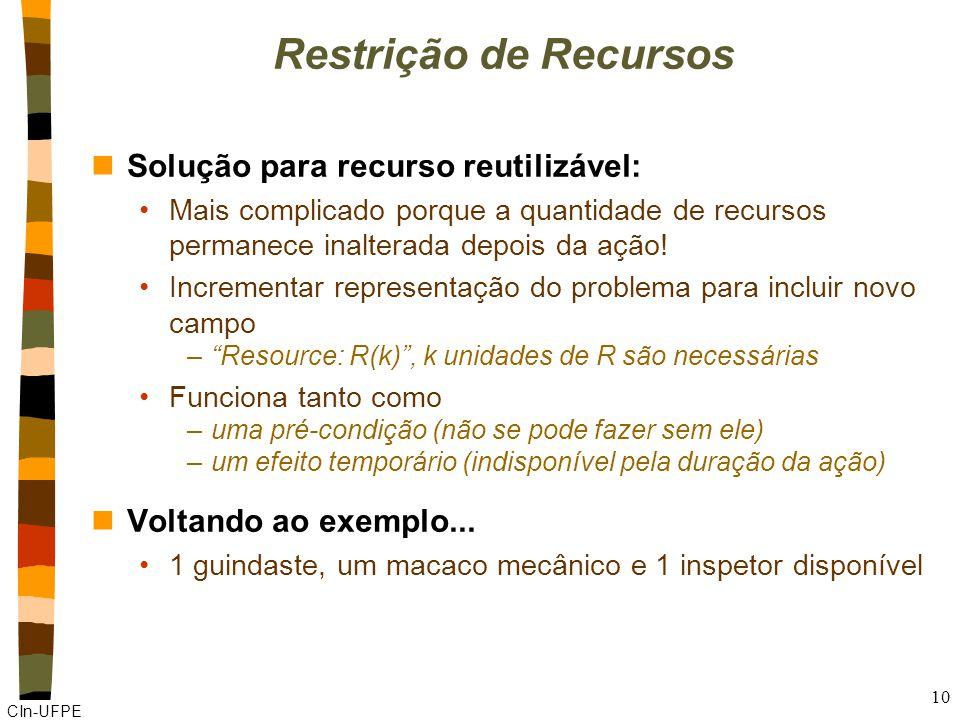 CIn-UFPE 10 Restrição de Recursos nSolução para recurso reutilizável: Mais complicado porque a quantidade de recursos permanece inalterada depois da ação.