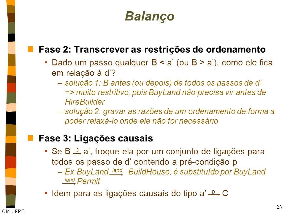 CIn-UFPE 23 Balanço nFase 2: Transcrever as restrições de ordenamento Dado um passo qualquer B a'), como ele fica em relação à d'.