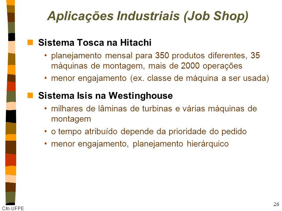 CIn-UFPE 26 Aplicações Industriais (Job Shop) nSistema Tosca na Hitachi planejamento mensal para 350 produtos diferentes, 35 máquinas de montagem, mais de 2000 operações menor engajamento (ex.