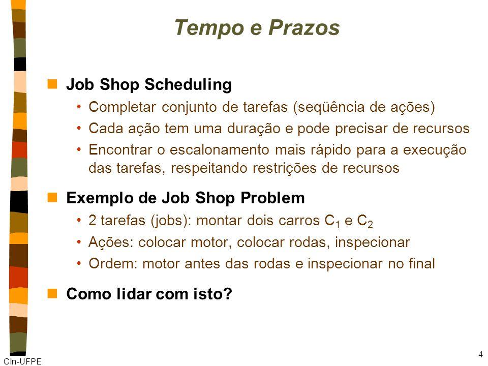 CIn-UFPE 4 Tempo e Prazos nJob Shop Scheduling Completar conjunto de tarefas (seqüência de ações) Cada ação tem uma duração e pode precisar de recursos Encontrar o escalonamento mais rápido para a execução das tarefas, respeitando restrições de recursos nExemplo de Job Shop Problem 2 tarefas (jobs): montar dois carros C 1 e C 2 Ações: colocar motor, colocar rodas, inspecionar Ordem: motor antes das rodas e inspecionar no final nComo lidar com isto
