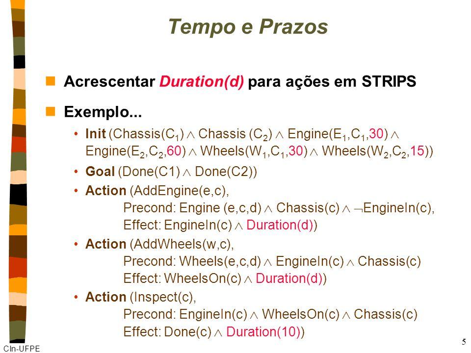 CIn-UFPE 5 Tempo e Prazos nAcrescentar Duration(d) para ações em STRIPS nExemplo...
