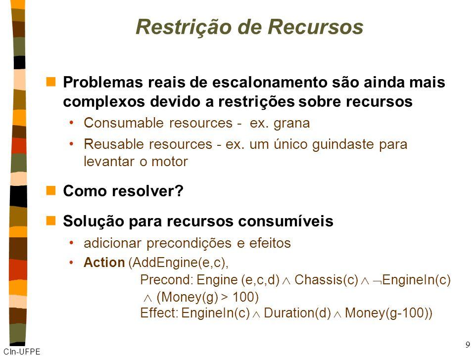 CIn-UFPE 9 Restrição de Recursos nProblemas reais de escalonamento são ainda mais complexos devido a restrições sobre recursos Consumable resources - ex.