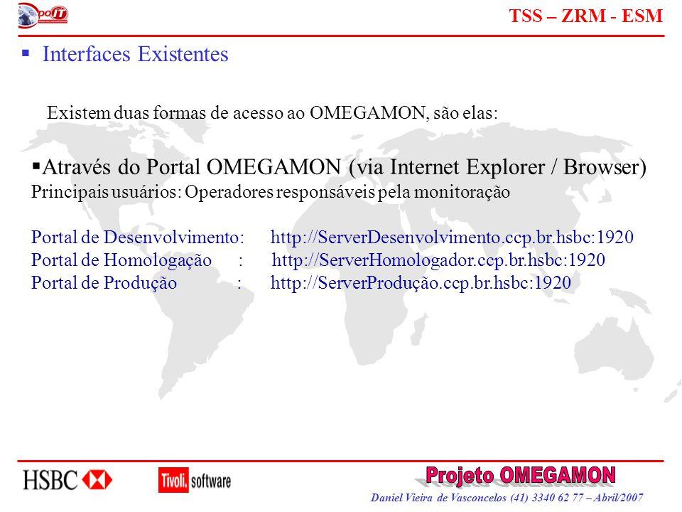 Daniel Vieira de Vasconcelos (41) 3340 62 77 – Abril/2007 TSS – ZRM - ESM  Interfaces Existentes Existem duas formas de acesso ao OMEGAMON, são elas: