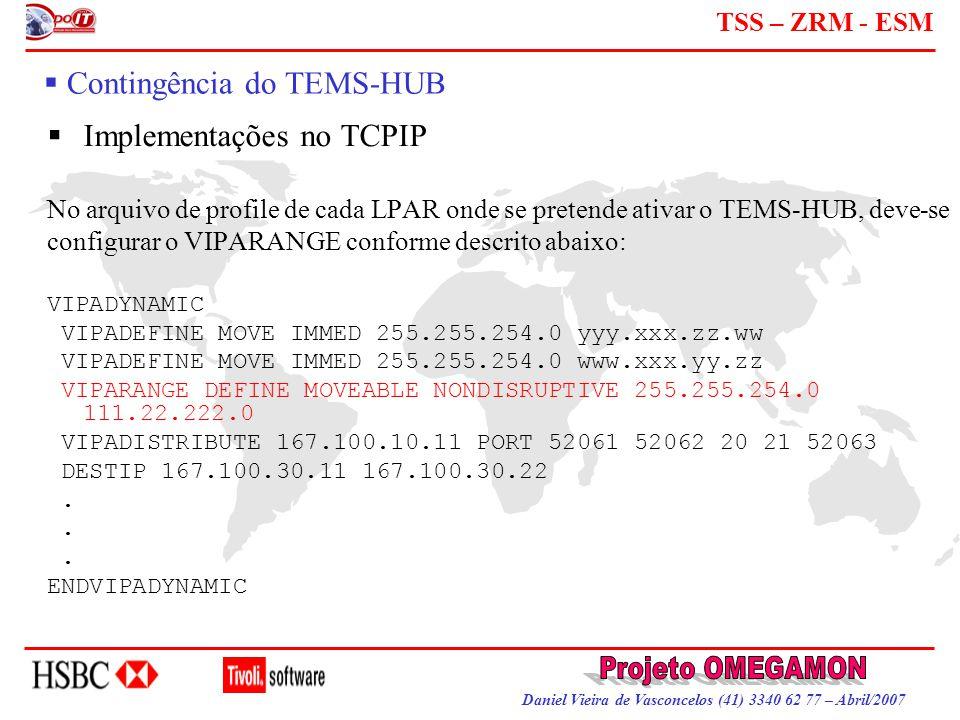 Daniel Vieira de Vasconcelos (41) 3340 62 77 – Abril/2007 TSS – ZRM - ESM  Contingência do TEMS-HUB  Implementações no TCPIP No arquivo de profile d