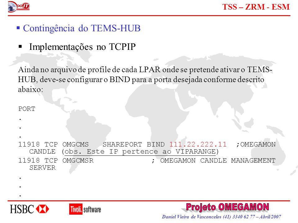 Daniel Vieira de Vasconcelos (41) 3340 62 77 – Abril/2007 TSS – ZRM - ESM  Contingência do TEMS-HUB  Implementações no TCPIP Ainda no arquivo de pro