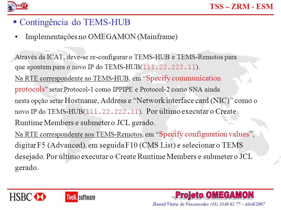 Daniel Vieira de Vasconcelos (41) 3340 62 77 – Abril/2007 TSS – ZRM - ESM  Contingência do TEMS-HUB Implementações no OMEGAMON (Mainframe) Através da