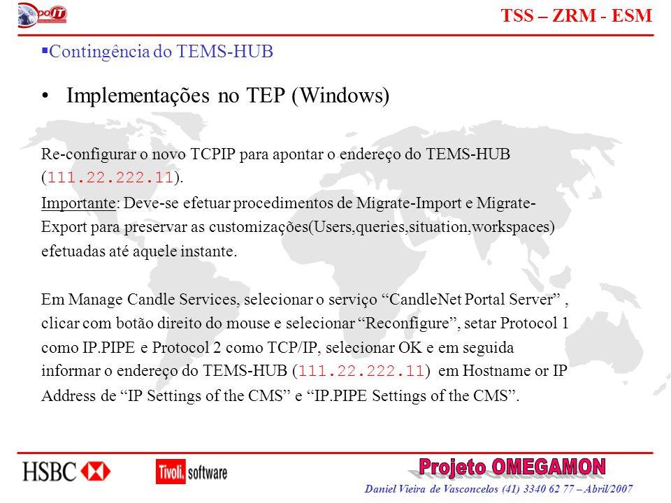 Daniel Vieira de Vasconcelos (41) 3340 62 77 – Abril/2007 TSS – ZRM - ESM  Contingência do TEMS-HUB Implementações no TEP (Windows) Re-configurar o n