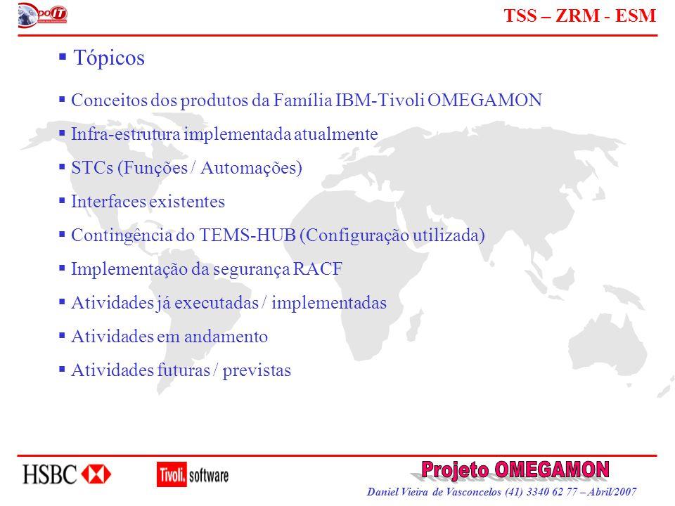 Daniel Vieira de Vasconcelos (41) 3340 62 77 – Abril/2007 TSS – ZRM - ESM  Conceitos dos produtos da Família IBM-Tivoli OMEGAMON  Infra-estrutura im