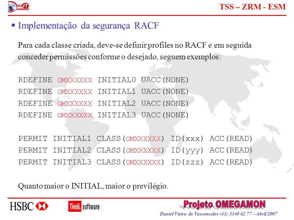 Daniel Vieira de Vasconcelos (41) 3340 62 77 – Abril/2007 TSS – ZRM - ESM  Implementação da segurança RACF Para cada classe criada, deve-se definir p