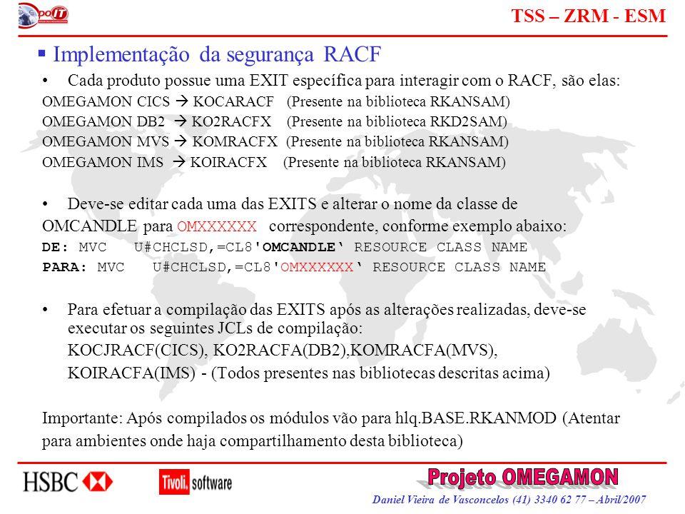 Daniel Vieira de Vasconcelos (41) 3340 62 77 – Abril/2007 TSS – ZRM - ESM  Implementação da segurança RACF Cada produto possue uma EXIT específica pa
