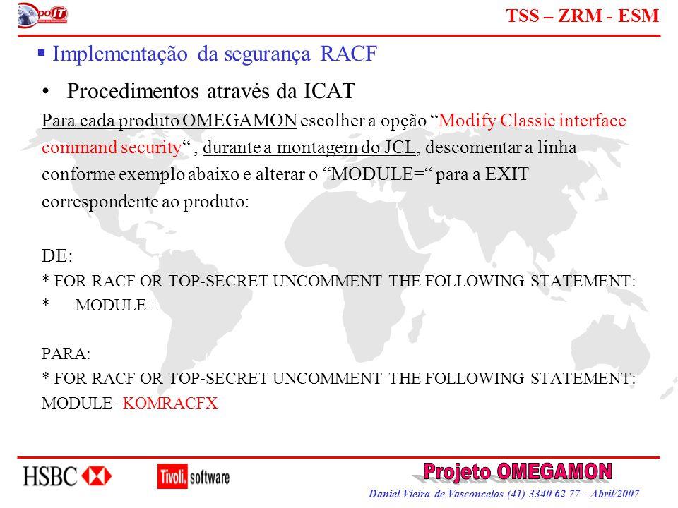 Daniel Vieira de Vasconcelos (41) 3340 62 77 – Abril/2007 TSS – ZRM - ESM  Implementação da segurança RACF Procedimentos através da ICAT Para cada pr