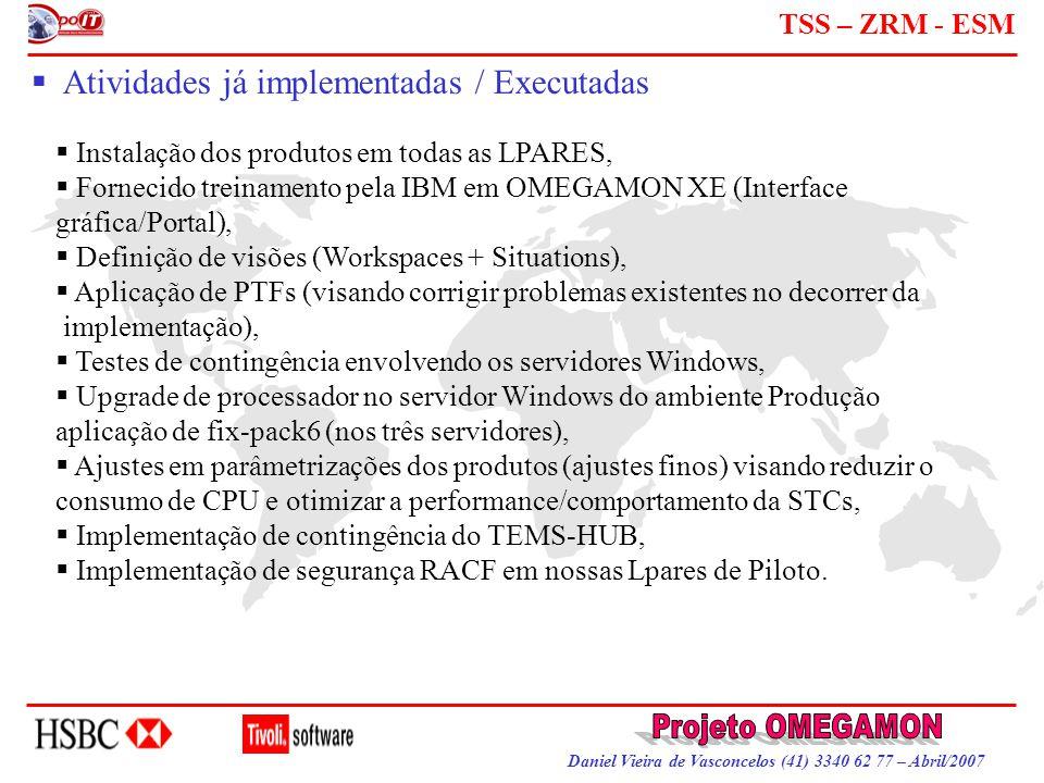 Daniel Vieira de Vasconcelos (41) 3340 62 77 – Abril/2007 TSS – ZRM - ESM  Atividades já implementadas / Executadas  Instalação dos produtos em toda