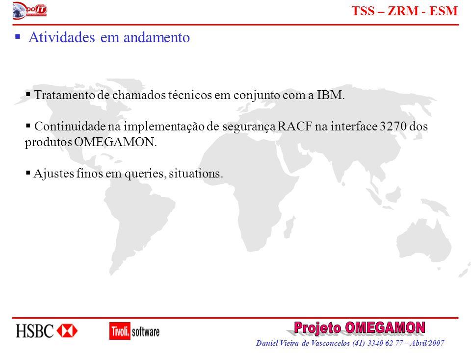 Daniel Vieira de Vasconcelos (41) 3340 62 77 – Abril/2007 TSS – ZRM - ESM  Atividades em andamento  Tratamento de chamados técnicos em conjunto com