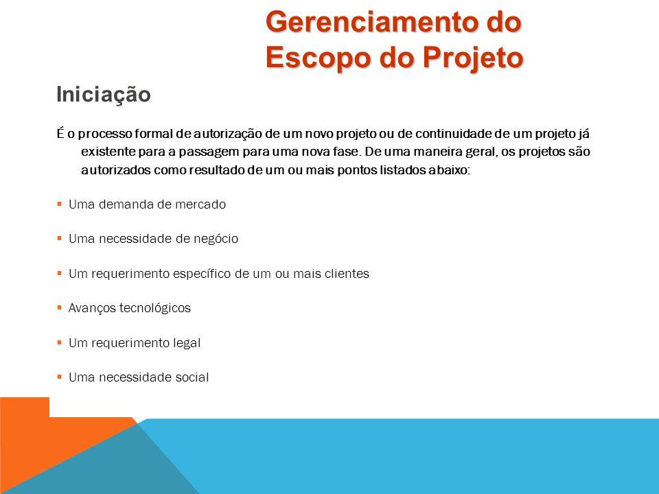 Iniciação Planejamento de Escopo Definição de Escopo Gerenciamento do Escopo do Projeto Conteúdo
