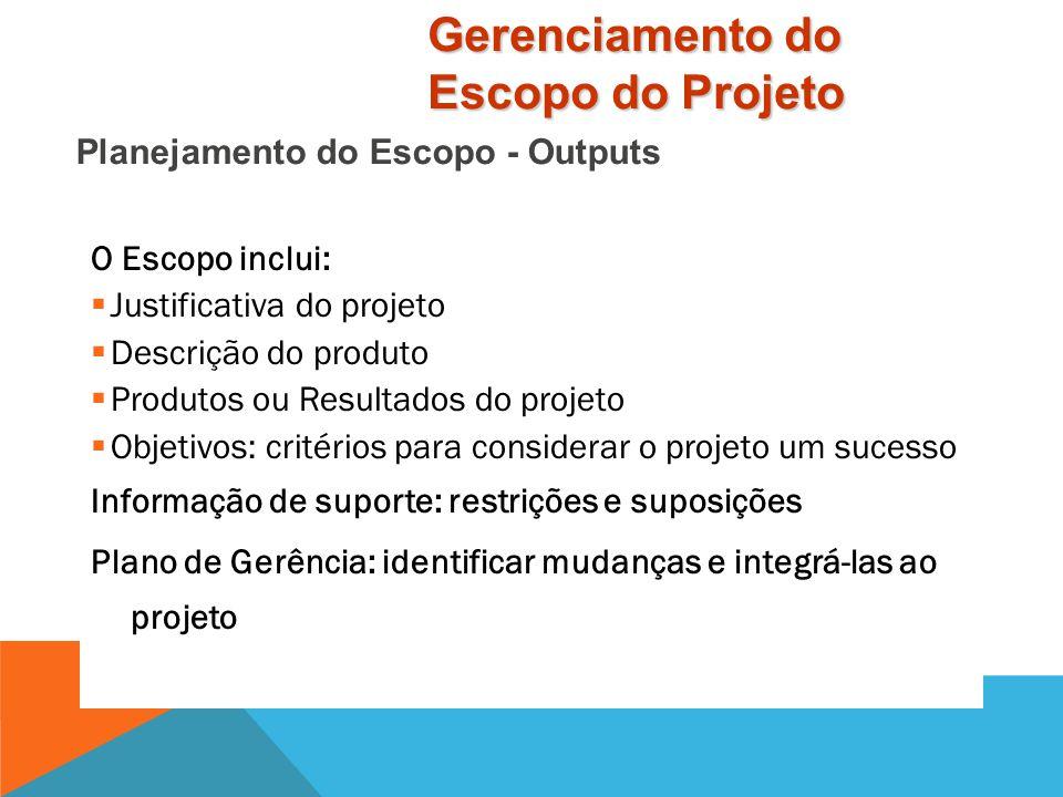 Output Declaração de Escopo Informação de Suporte Plano de Gerência do Escopo Tools & Techniques Análise do Produto Benefício / Custo Identificação de
