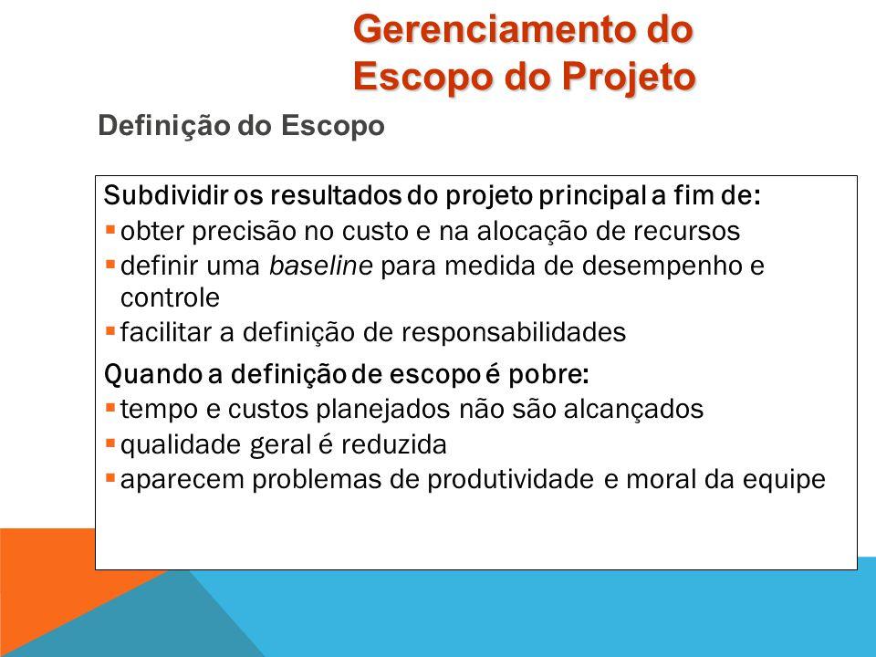 O Escopo inclui:  Justificativa do projeto  Descrição do produto  Produtos ou Resultados do projeto  Objetivos: critérios para considerar o projet