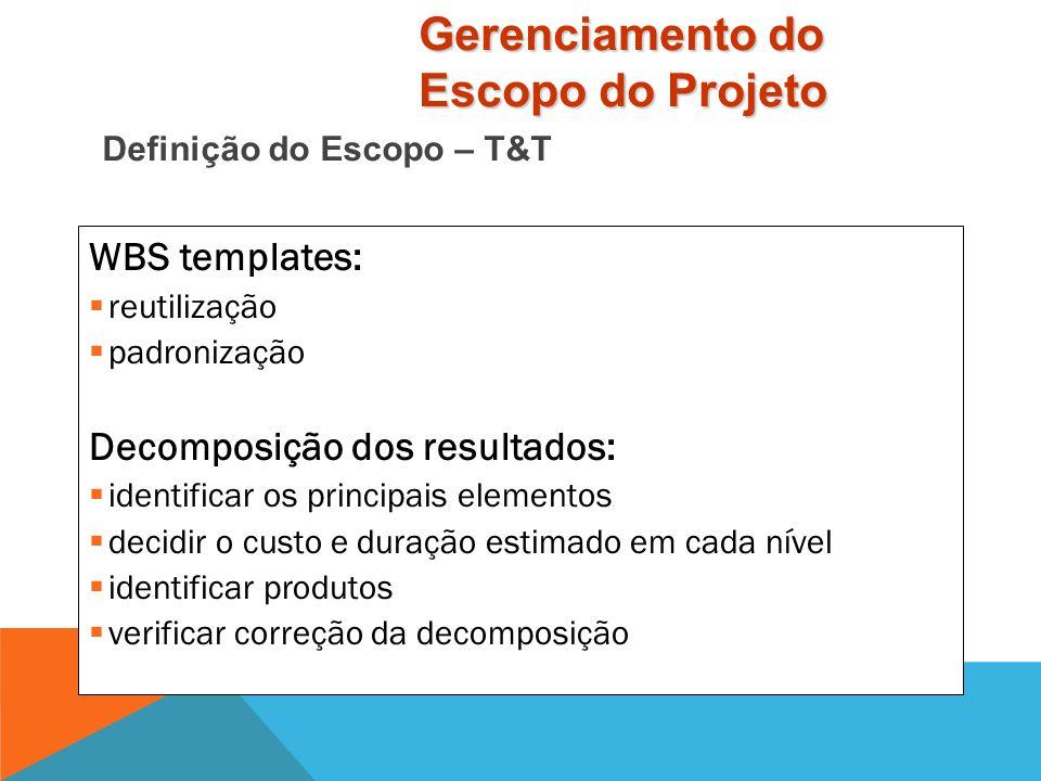 WBS: organização dos elementos de atividade do projeto em uma estrutura de hierárquica  A hierarquia de produto:  indica como os vários componentes