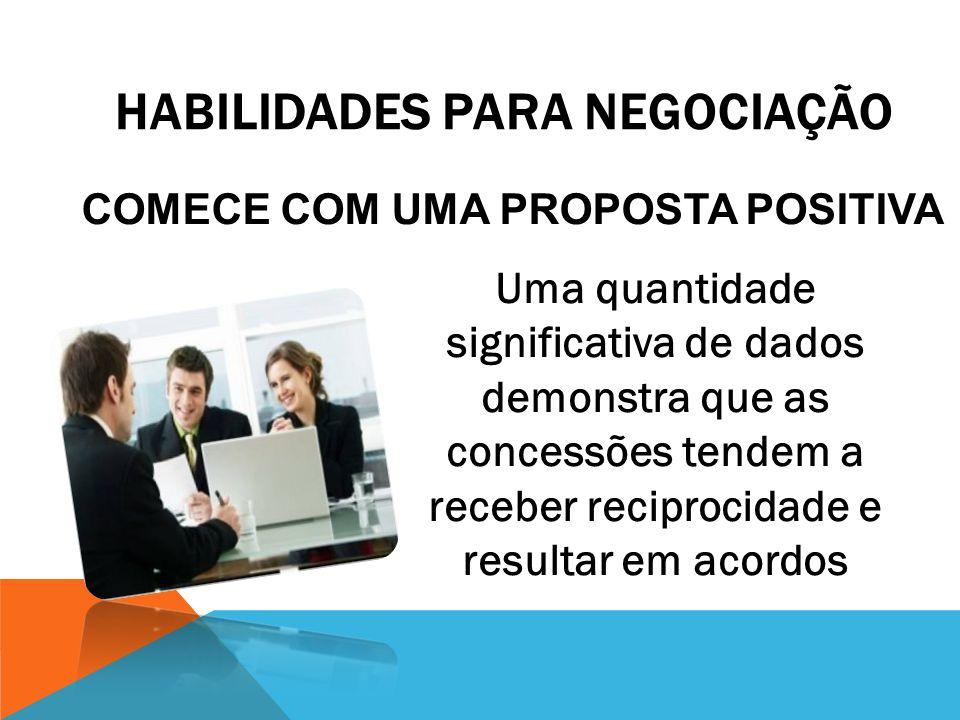 HABILIDADES PARA NEGOCIAÇÃO Comece a Negociação, obtendo o máximo de informações sobre os interesses e metas de seu contraparte.