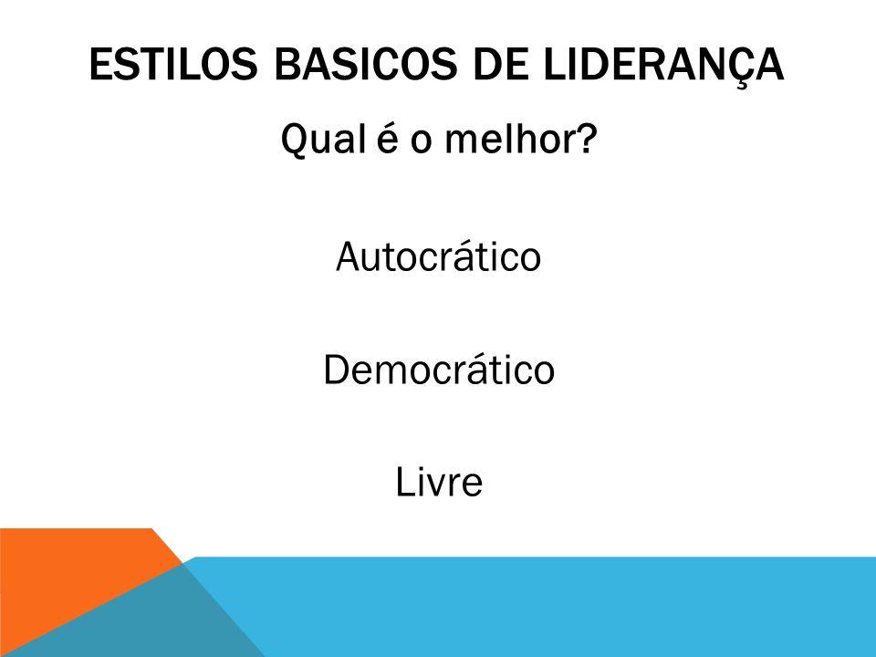 ESTILOS BASICOS DE LIDERANÇA LIVRE Grande liberdade de ação e autonomia Delega tarefas, responsabilidades e autoridade Ênfase sobre os objetivos e não