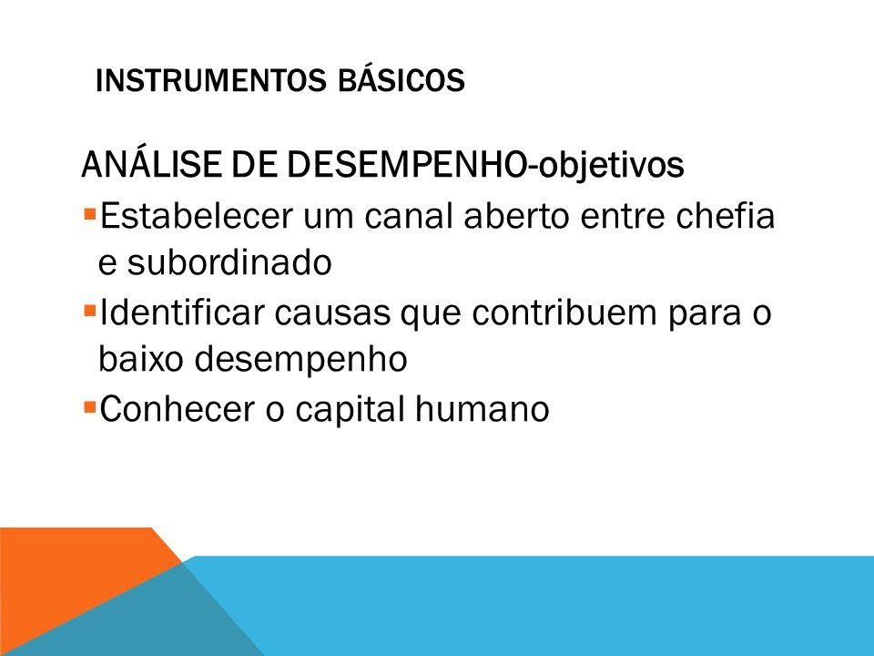 INSTRUMENTOS BÁSICOS ANÁLISE DE DESEMPENHO  É análise e revisão da atuação do profissional  Relacionada aos objetivos  Eficiência no uso de recurso