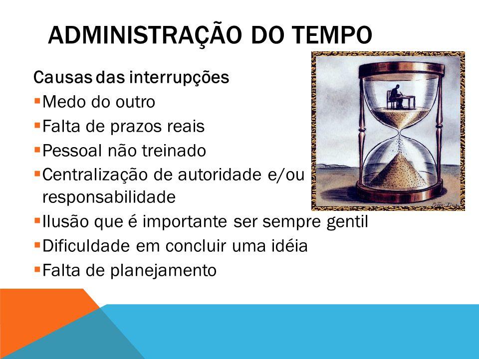 ADMINISTRAÇÃO DO TEMPO TER AUTODISCIPLINA  Manter um plano de ação pessoal  Não adiar as coisas  Um papel de cada vez  Concentração  Uso de telef