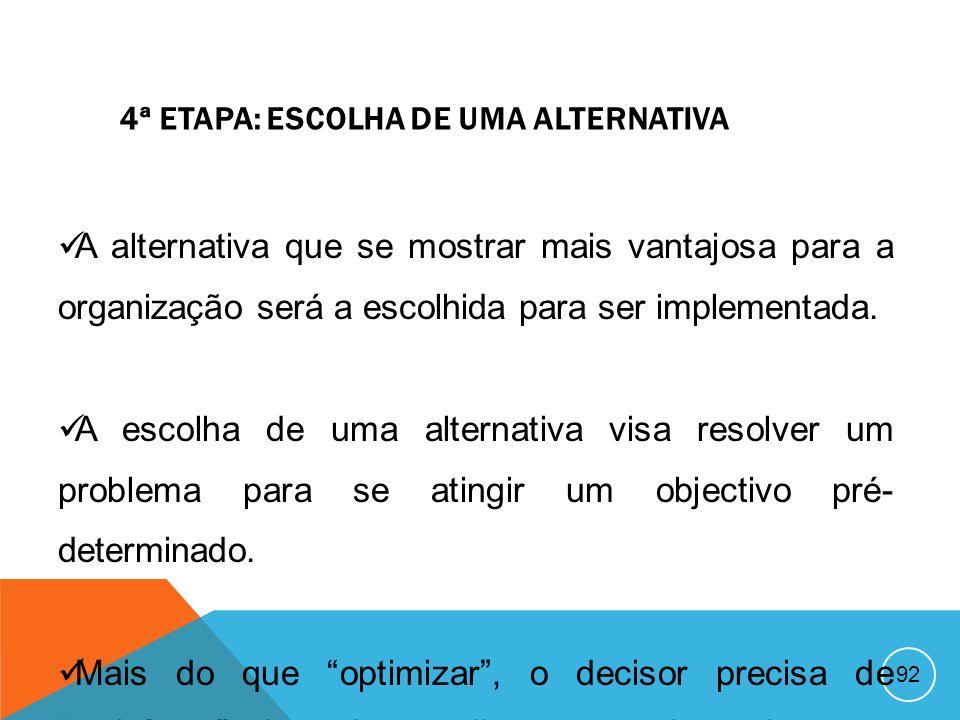 91 3ª ETAPA: AVALIAÇÃO DE ALTERNATIVAS Uma vez desenvolvidas, as alternativas devem ser avaliadas e comparadas. A relação alternativa – resultado base
