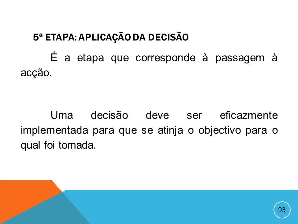 92 4ª ETAPA: ESCOLHA DE UMA ALTERNATIVA A alternativa que se mostrar mais vantajosa para a organização será a escolhida para ser implementada. A escol