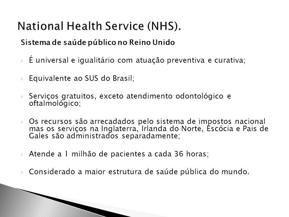 É universal e igualitário com atuação preventiva e curativa;  Equivalente ao SUS do Brasil;  Serviços gratuitos, exceto atendimento odontológico e