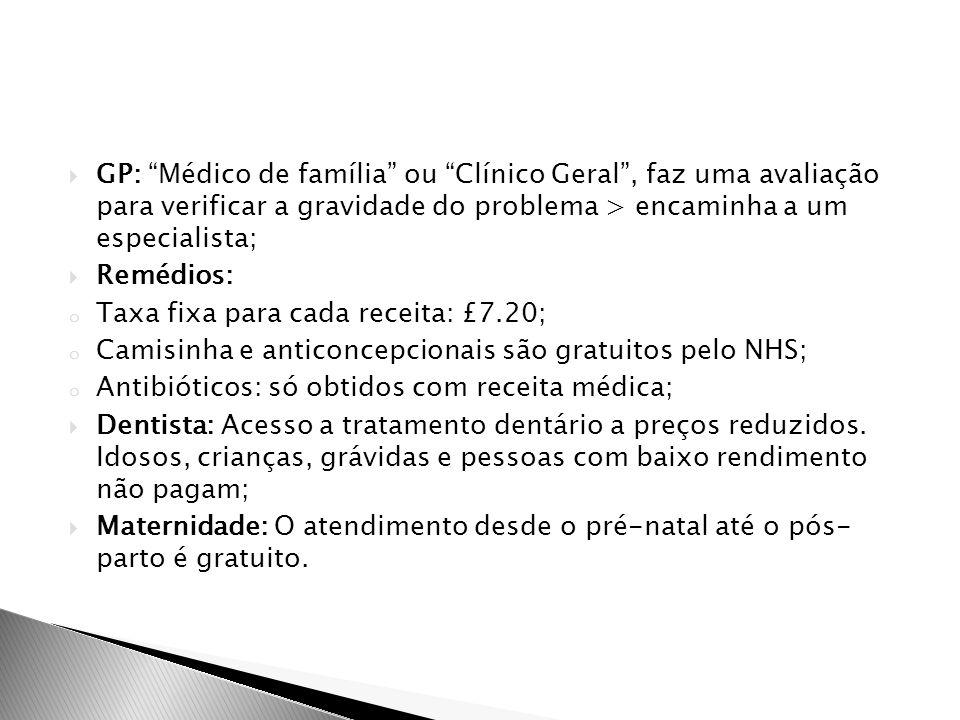 """ GP: """"Médico de família"""" ou """"Clínico Geral"""", faz uma avaliação para verificar a gravidade do problema > encaminha a um especialista;  Remédios: o Ta"""