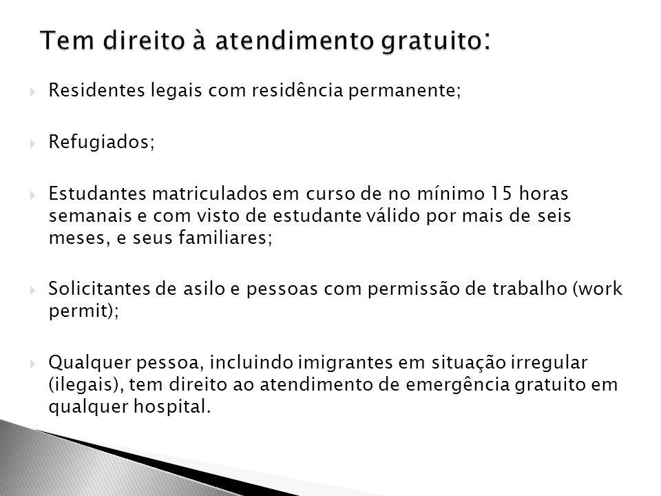  Residentes legais com residência permanente;  Refugiados;  Estudantes matriculados em curso de no mínimo 15 horas semanais e com visto de estudant