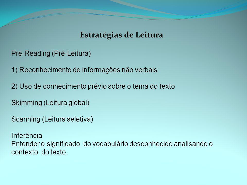 Estratégias de Leitura Pre-Reading (Pré-Leitura) 1) Reconhecimento de informações não verbais 2) Uso de conhecimento prévio sobre o tema do texto Skim