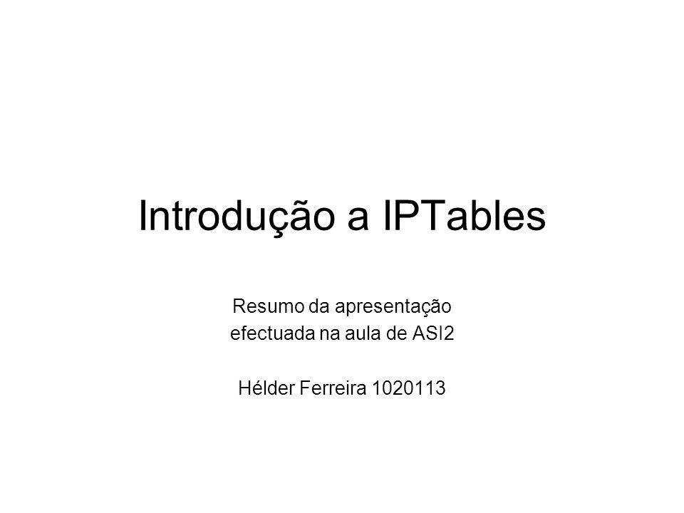 Introdução a IPTables Resumo da apresentação efectuada na aula de ASI2 Hélder Ferreira 1020113