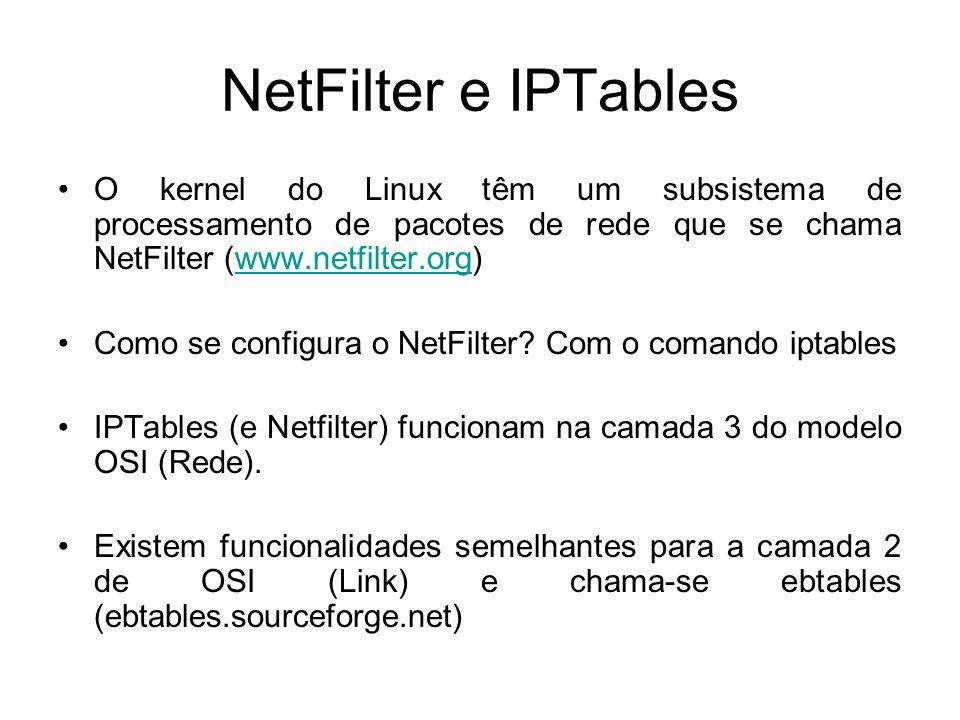 NetFilter e IPTables O kernel do Linux têm um subsistema de processamento de pacotes de rede que se chama NetFilter (www.netfilter.org)www.netfilter.o