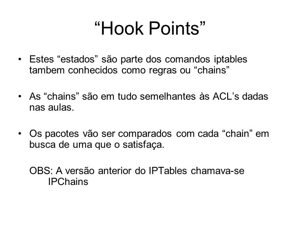 """""""Hook Points"""" Estes """"estados"""" são parte dos comandos iptables tambem conhecidos como regras ou """"chains"""" As """"chains"""" são em tudo semelhantes às ACL's d"""