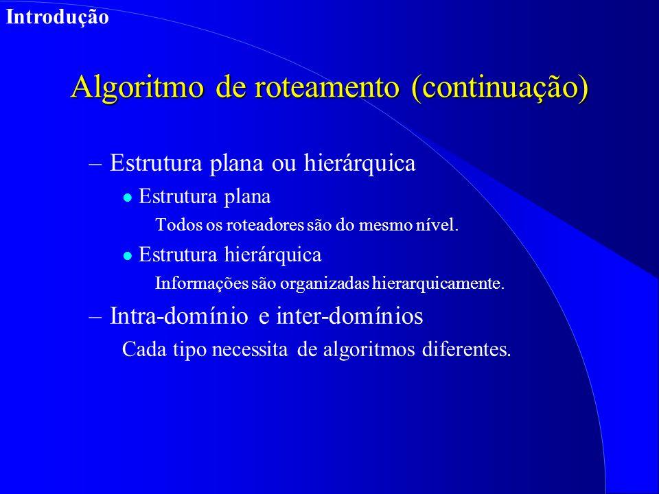 Algoritmo de roteamento (continuação) –Estrutura plana ou hierárquica l Estrutura plana Todos os roteadores são do mesmo nível.