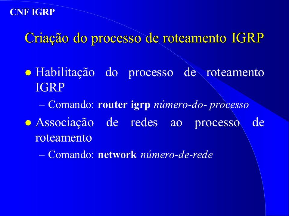 Criação do processo de roteamento IGRP l Habilitação do processo de roteamento IGRP –Comando: router igrp número-do- processo l Associação de redes ao processo de roteamento –Comando: network número-de-rede CNF IGRP
