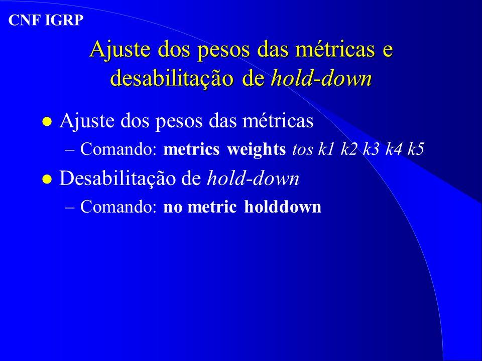 Ajuste dos pesos das métricas e desabilitação de hold-down l Ajuste dos pesos das métricas –Comando: metrics weights tos k1 k2 k3 k4 k5 l Desabilitação de hold-down –Comando: no metric holddown CNF IGRP