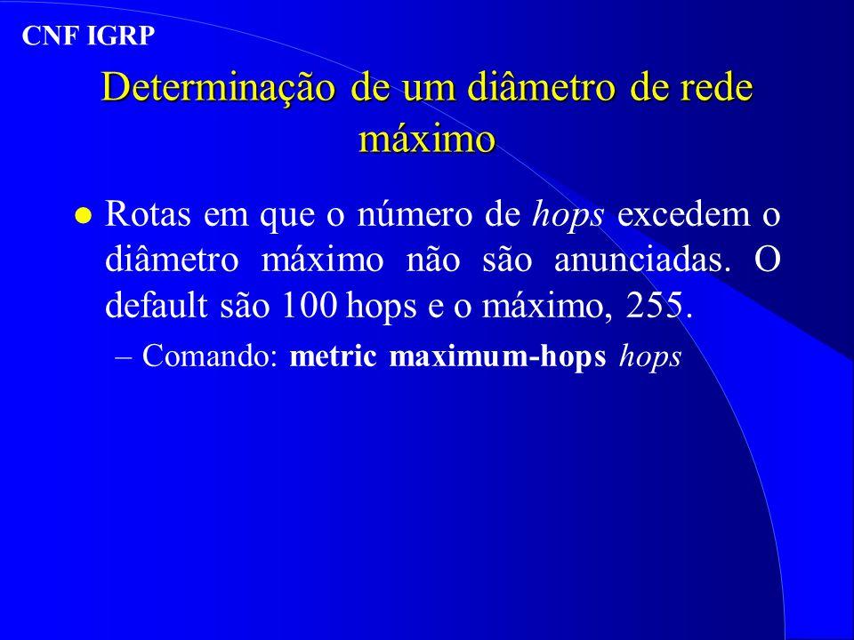 Determinação de um diâmetro de rede máximo l Rotas em que o número de hops excedem o diâmetro máximo não são anunciadas.