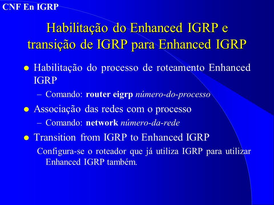 Habilitação do Enhanced IGRP e transição de IGRP para Enhanced IGRP l Habilitação do processo de roteamento Enhanced IGRP –Comando: router eigrp número-do-processo l Associação das redes com o processo –Comando: network número-da-rede l Transition from IGRP to Enhanced IGRP Configura-se o roteador que já utiliza IGRP para utilizar Enhanced IGRP também.
