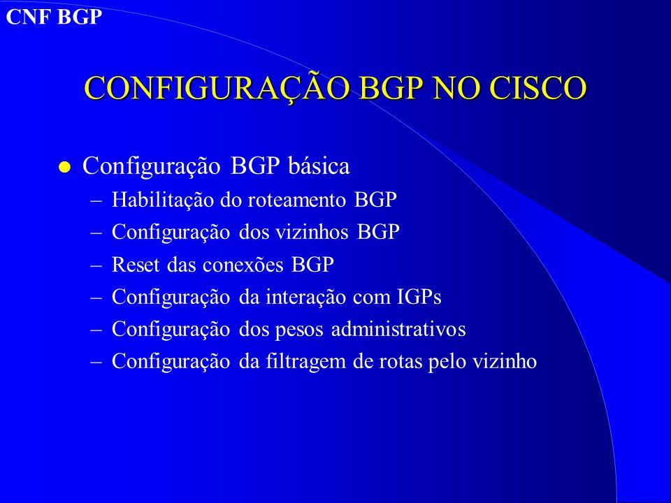 CONFIGURAÇÃO BGP NO CISCO l Configuração BGP básica –Habilitação do roteamento BGP –Configuração dos vizinhos BGP –Reset das conexões BGP –Configuração da interação com IGPs –Configuração dos pesos administrativos –Configuração da filtragem de rotas pelo vizinho CNF BGP