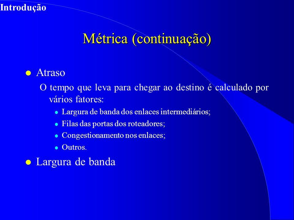 Métrica (continuação) l Atraso O tempo que leva para chegar ao destino é calculado por vários fatores: l Largura de banda dos enlaces intermediários; l Filas das portas dos roteadores; l Congestionamento nos enlaces; l Outros.