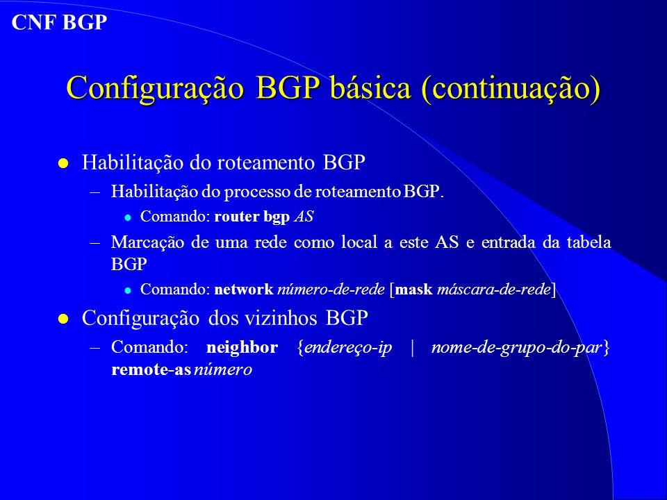 Configuração BGP básica (continuação) l Habilitação do roteamento BGP –Habilitação do processo de roteamento BGP.