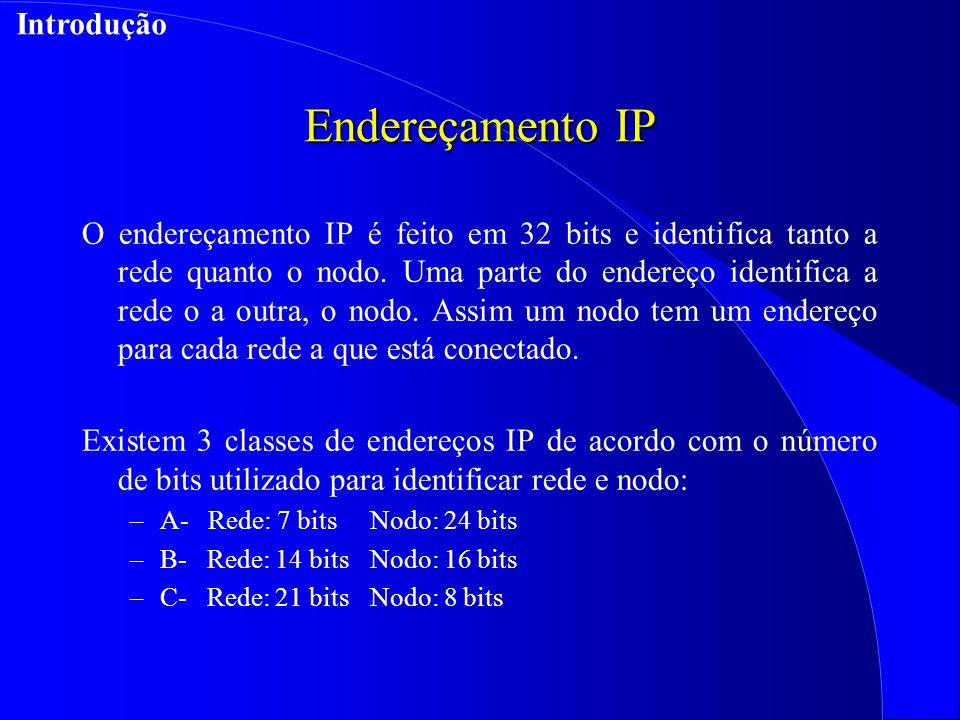 Endereçamento IP O endereçamento IP é feito em 32 bits e identifica tanto a rede quanto o nodo.