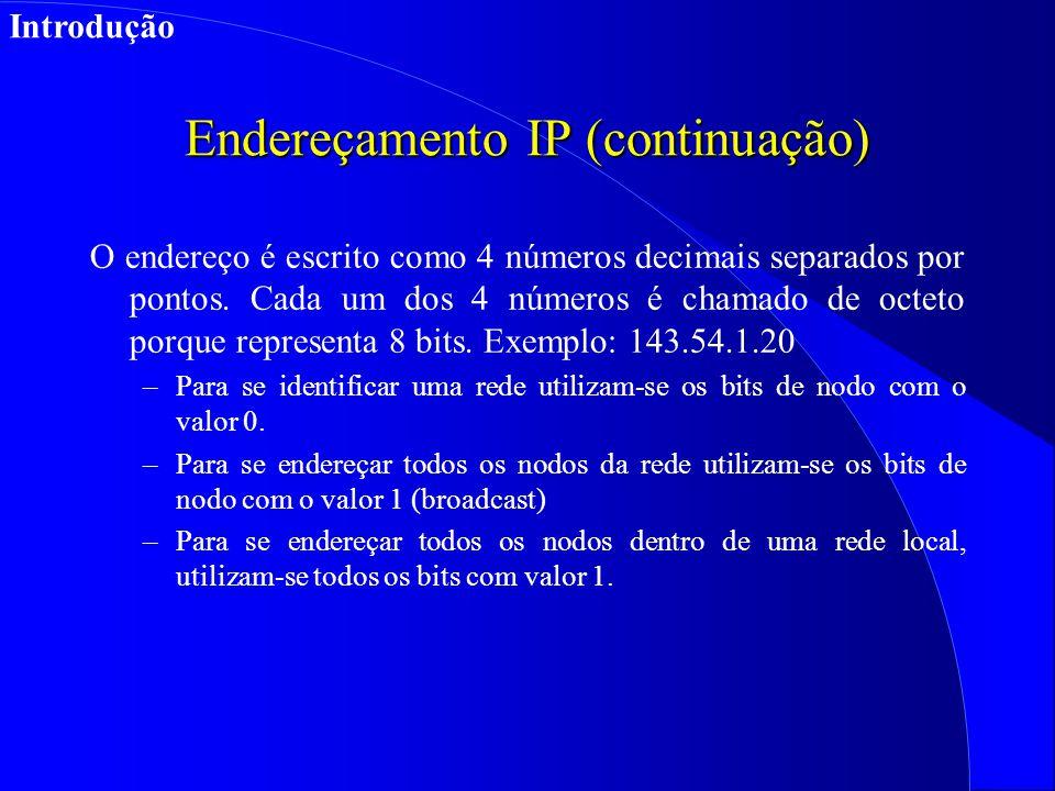 Endereçamento IP (continuação) O endereço é escrito como 4 números decimais separados por pontos.