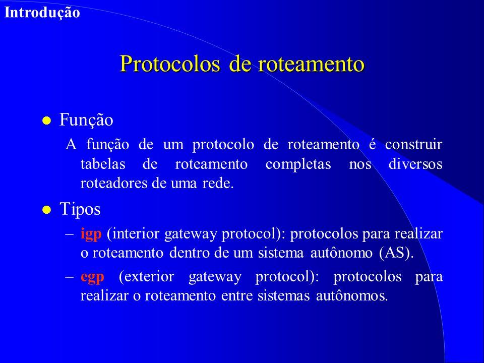 Protocolos de roteamento l Função A função de um protocolo de roteamento é construir tabelas de roteamento completas nos diversos roteadores de uma rede.